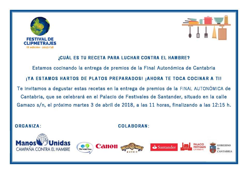IX Festival de Clipmetrajes. Organiza Manos Unidas Cantabria. Se celebra en Santander.