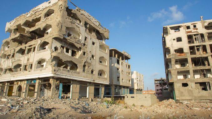 Edificio de Yemen destruido por los bombardeos | Foto UN Camberra