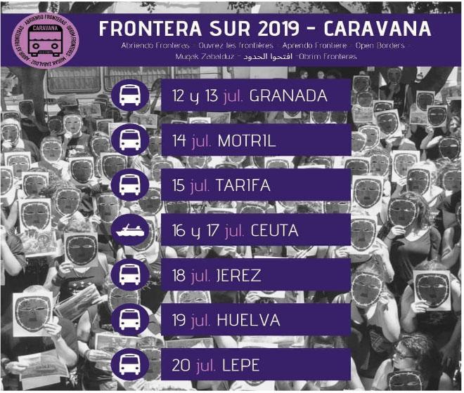 Caravana Frontera Sur itinerario