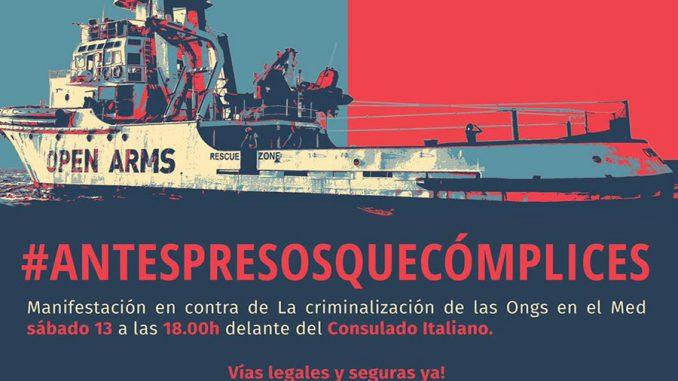 Open arms manifestación Barcelona
