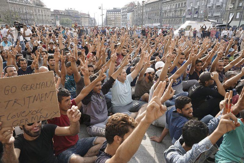 refugiados sirios manifestación